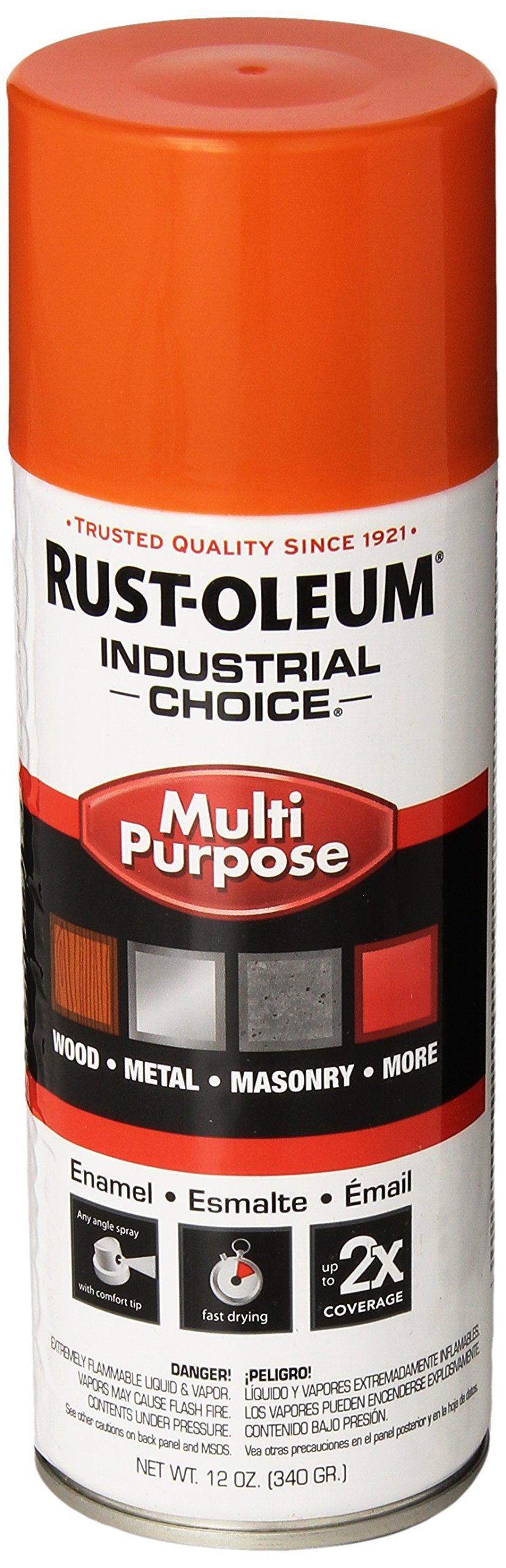 Rust-Oleum 1653830 Safety Orange 1600 System General Purpose Enamel Spray Paint,16 fl. oz. container, 12 oz. weight fill, Can (Pack of 6)