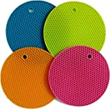 2 In 1 Combo SET - 4 Round Silicone Non-slip Potholder/Trivet/Mat And a Stainless Steel Veggie Swivel Peeler with Plastic Handle, Plus an Awesome eBook for Healthy Cooking by BlueSkyBos