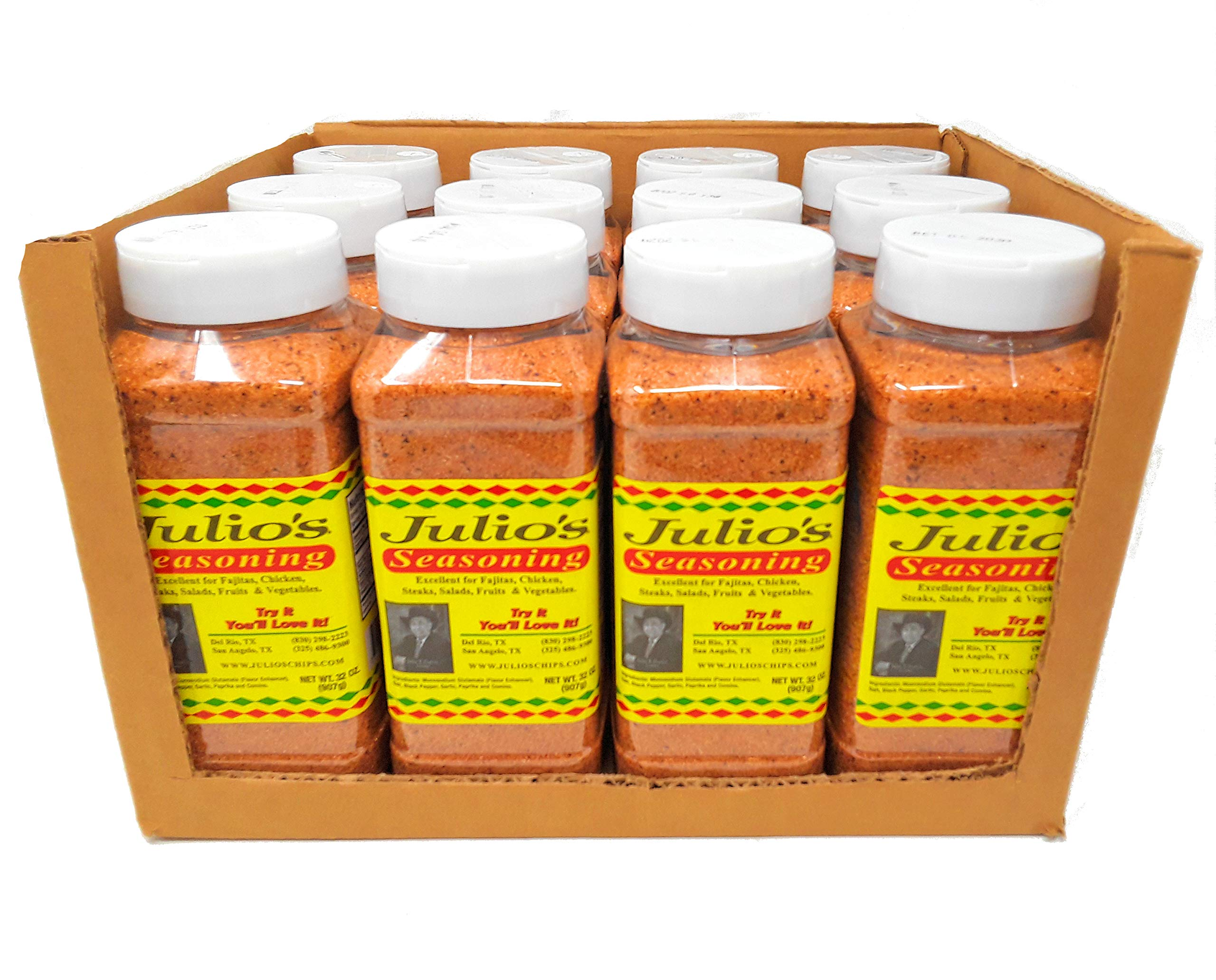 Julio's Seasoning - 32 oz Shaker Bottles, Pack of 12 - Ideal for Restaurants/Food Trucks/Resale - Save Big on Each - Best Seller in Texas - Great Southwestern Tex-Mex Flavor