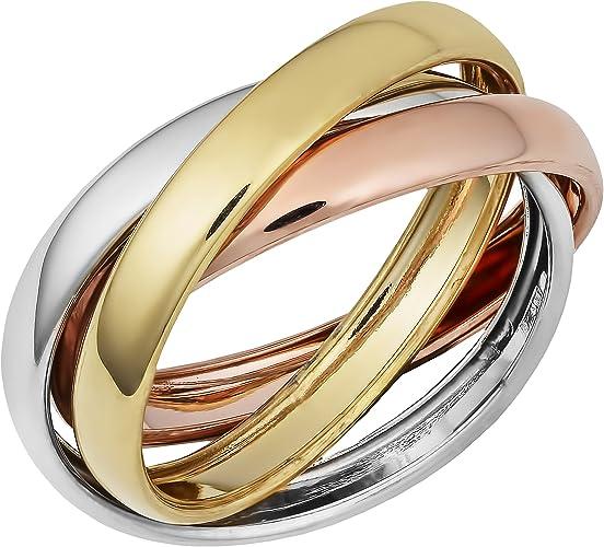 Nuevo anillos de acero inoxidable 3 él anillos tricolor Rosegold plata oro señora 3 de colores nuevo