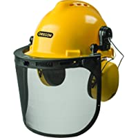 Oregon Chainsaw Safety Protective Helmet With Visor Combo Set (Yellow)