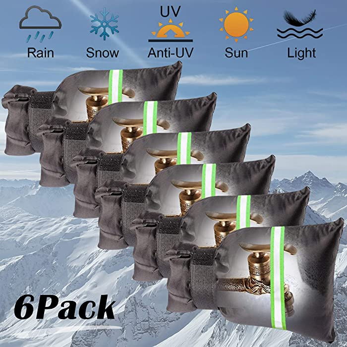 """Outdoor Faucet Covers for Winter, Garden Faucet Socks 5.9"""" W x 7.9"""" H with Reflective Strips- Anti-Freeze Reusable Faucet Cover Set, Waterproof & Heat Preservation (6 Packs)"""