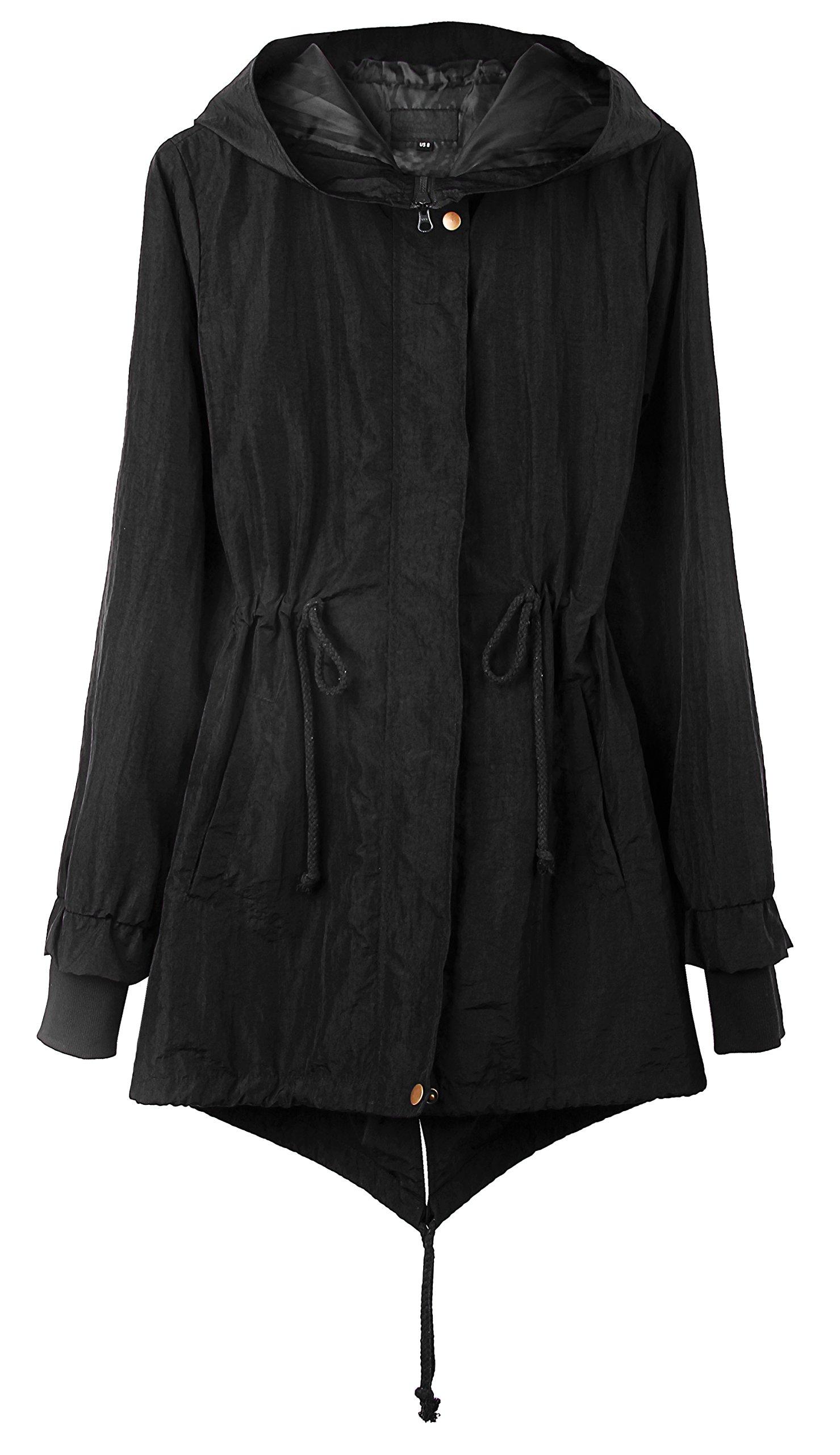 4HOW Women's Rain Coat with Hood Waterproof Long Military Anorak Jacket Black Size 8