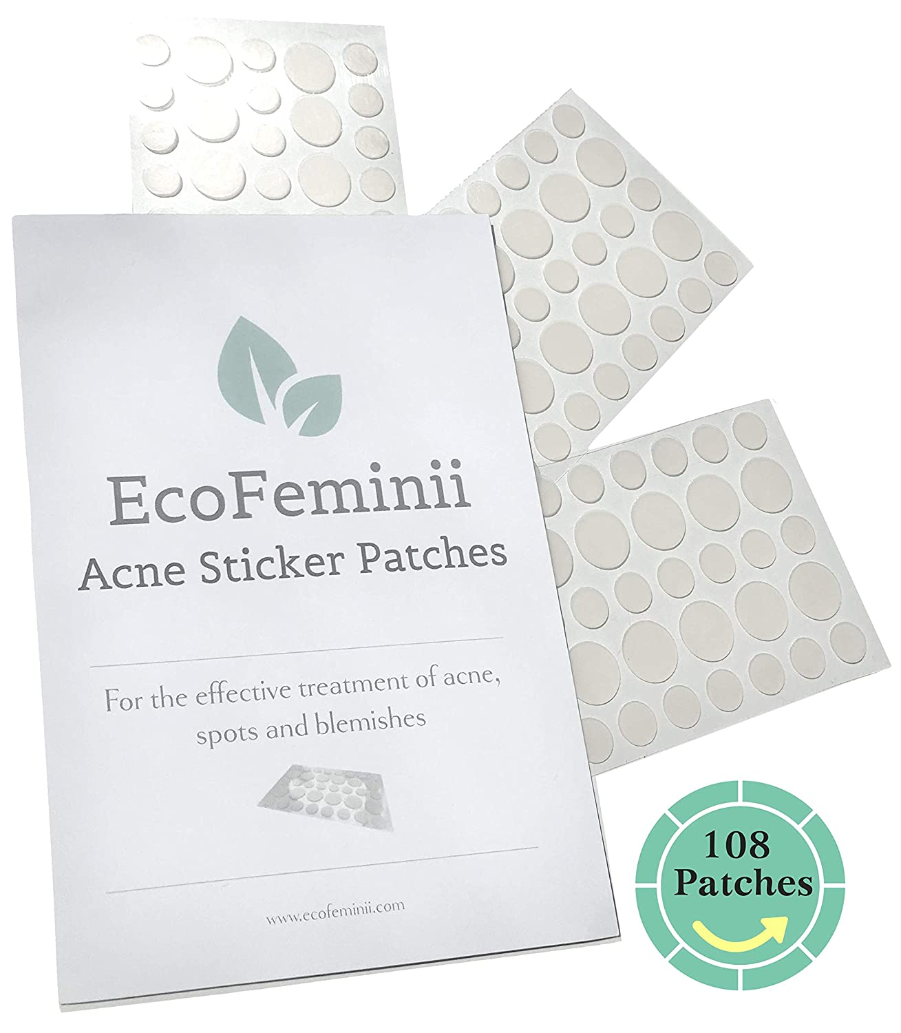 EcoFeminii Targeted Spot & Blemish Treatment Acne Patches-108 Count/3  Sheets-Absorbing Hydrocolloid Dot Covers Repair-Effective on  Oily/Combination
