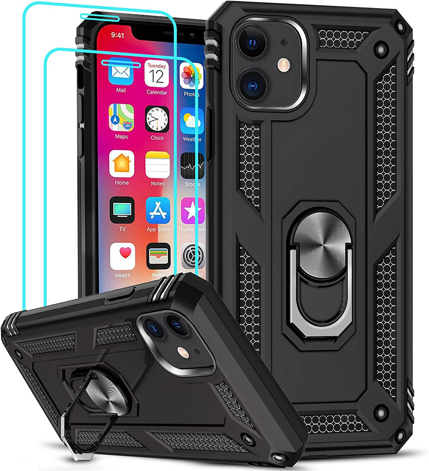 LeYi Compatible for iPhone 11 Case with Tempered Glass Screen Protector[2 Pack], Military-Grade Armor Phone Cover Case with Ring Magnetic Car Mount Kickstand for iPhone 11 6.1 inch, Black