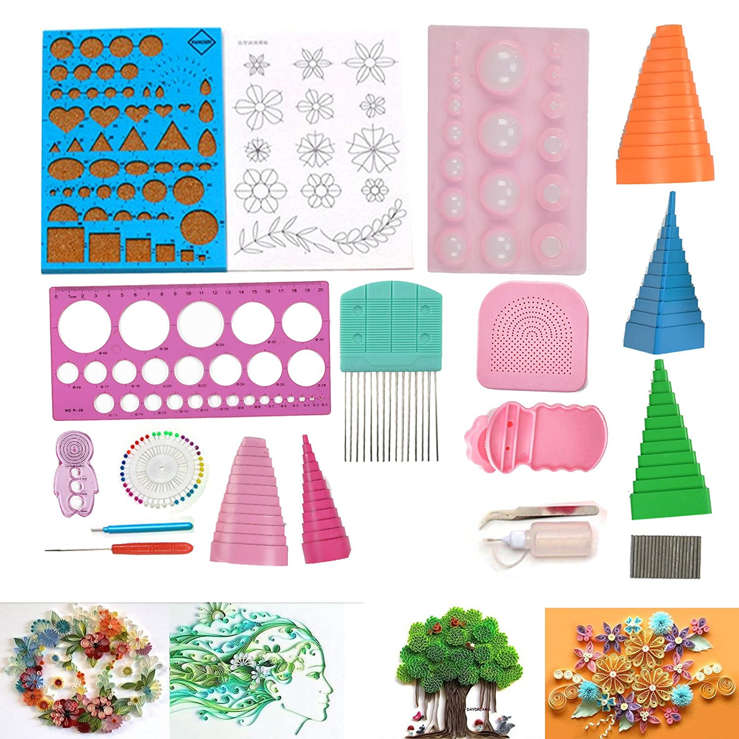 Multiware 18 PCS DIY Paper Quilling Craft Tool Kit Multifunctional Board Scrapbooking For Home Office Decoration oem