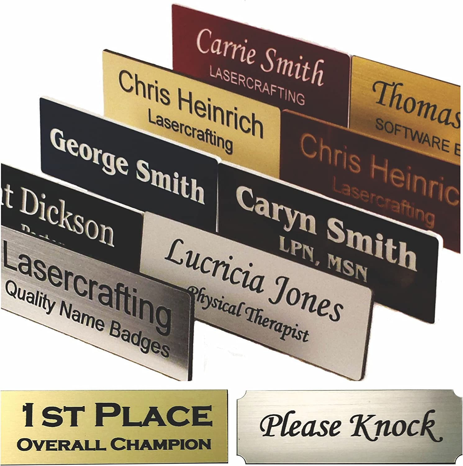 Name Badge or Trophy/Picture Label, Engraved - Choose Magnet, pin, Tape or Screws - Size Options