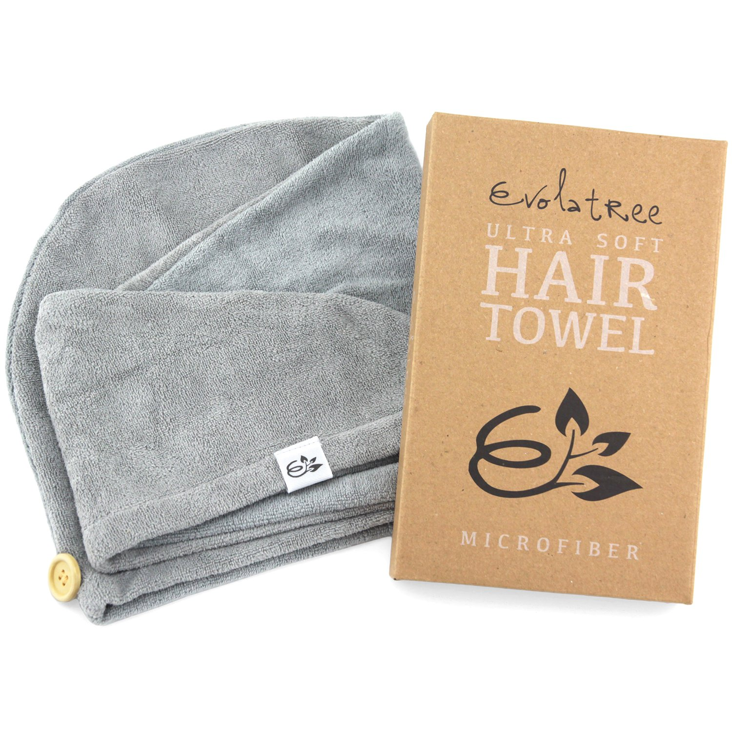 Evolatree Microfiber Hair Towel Wrap - Quick Magic Hair Dry Hat - Anti Frizz Products For Curly Hair Drying Towels - Neutral Gray by Evolatree (Image #1)