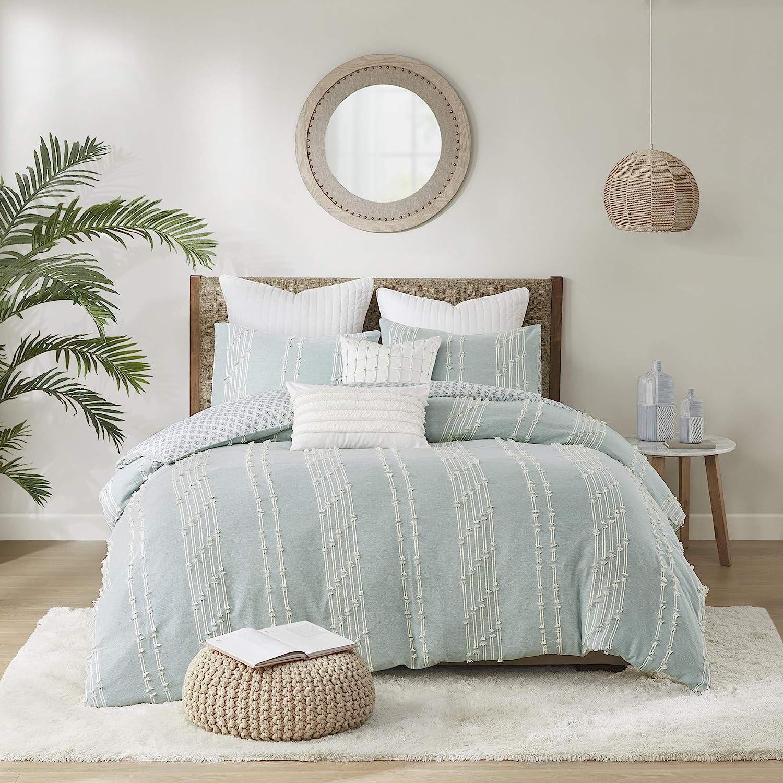 "INK+IVY 100% Cotton Comforter Set, Clipped Jacquard Design Diamond Print All Season Down Alternative Cozy Bedding with Matching Shams, Full/Queen(88""x92""), Kara, Aqua Reversable Stripes 3 Piece"