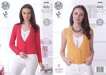3e7a394d6 Image Unavailable. Image not available for. Colour  King Cole Ladies Easy  Knit 4 Ply Knitting Pattern Womens Cardigan ...