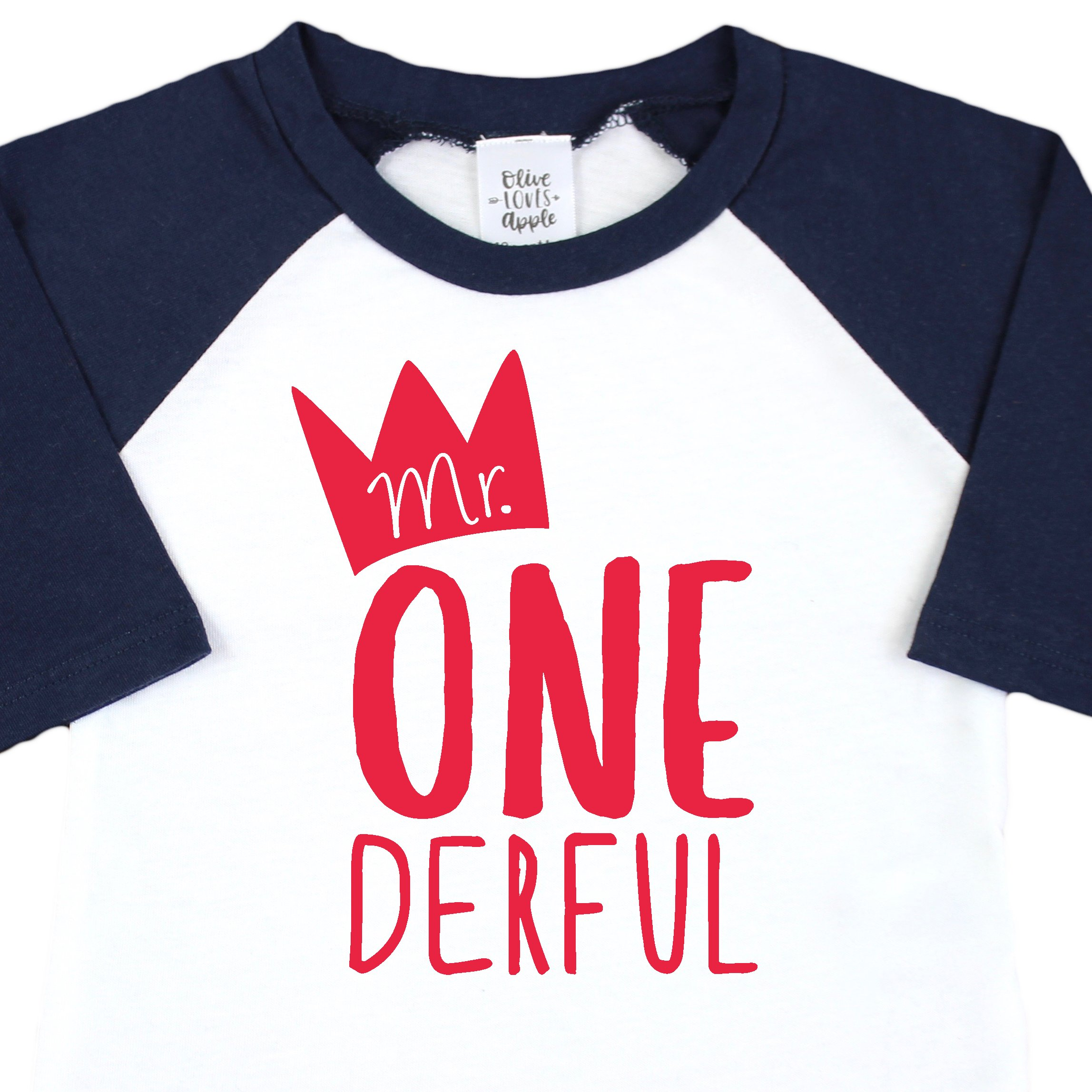 Mr One-Derful Baseball Tee Shirt for Boys 1st Birthday Shirt by Olive Loves Apple (Image #2)