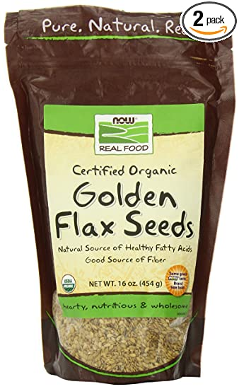 NOW Foods Certified Organic Golden Flax Seeds, 16-Ounce (Pack of 2)