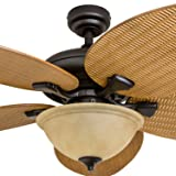 Honeywell Ceiling Fans 50507-01 Palm Island 52-Inch Tropical Ceiling Fan with Tuscan Bowl Light, Five Leaf/Wicker Blades, Indoor/Outdoor, Sandstone