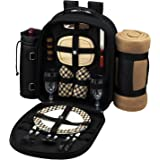 Picnic at Ascot - Deluxe Equipped 2 Person Picnic Backpack with Cooler, Insulated Wine Holder & Blanket - London Plaid