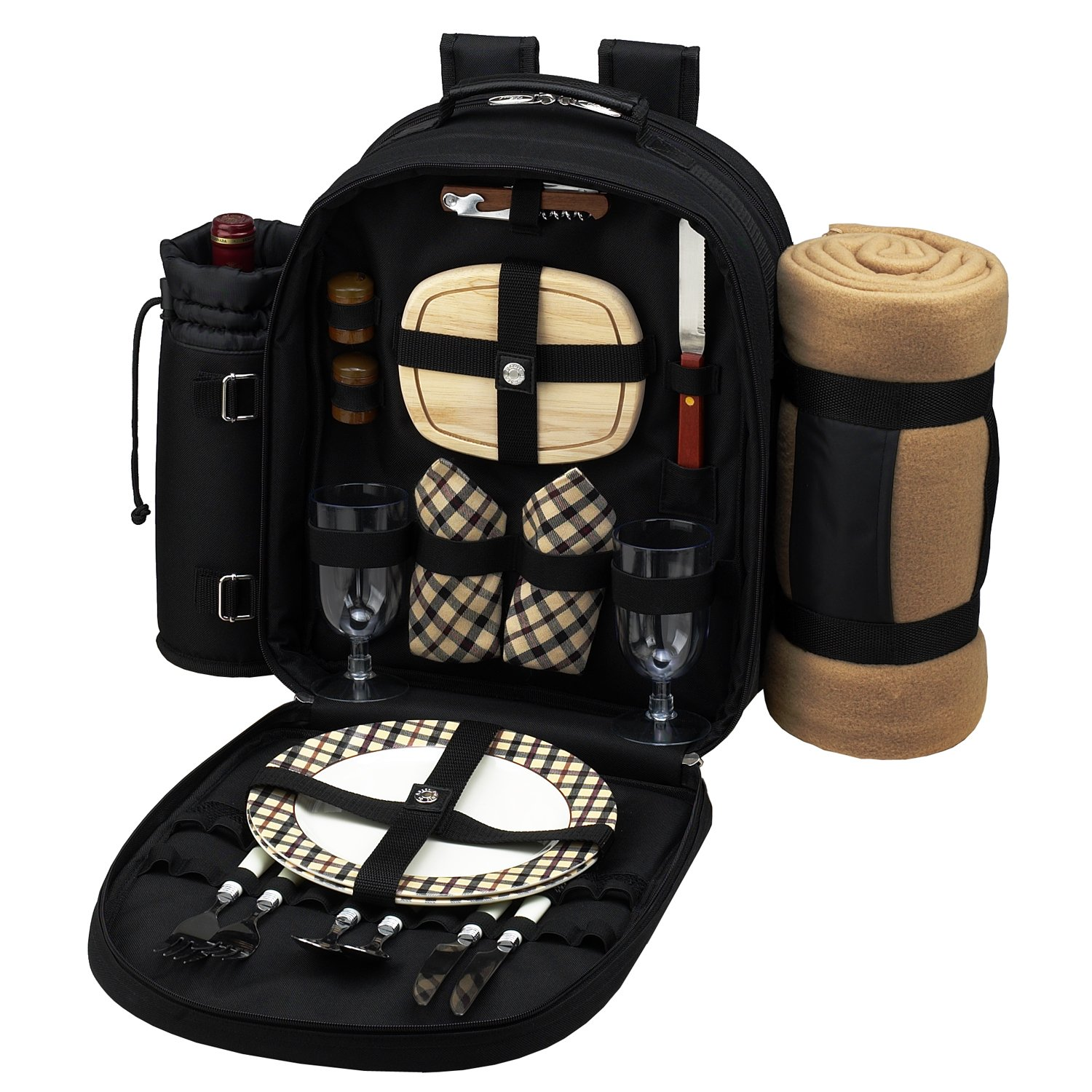 Picnic at Ascot - Deluxe Equipped 2 Person Picnic Backpack with Cooler, Insulated Wine Holder & Blanket - Navy 080X-BLB