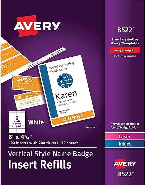 Amazon.com: Avery - Insertos para el nombre de la tarjeta ...