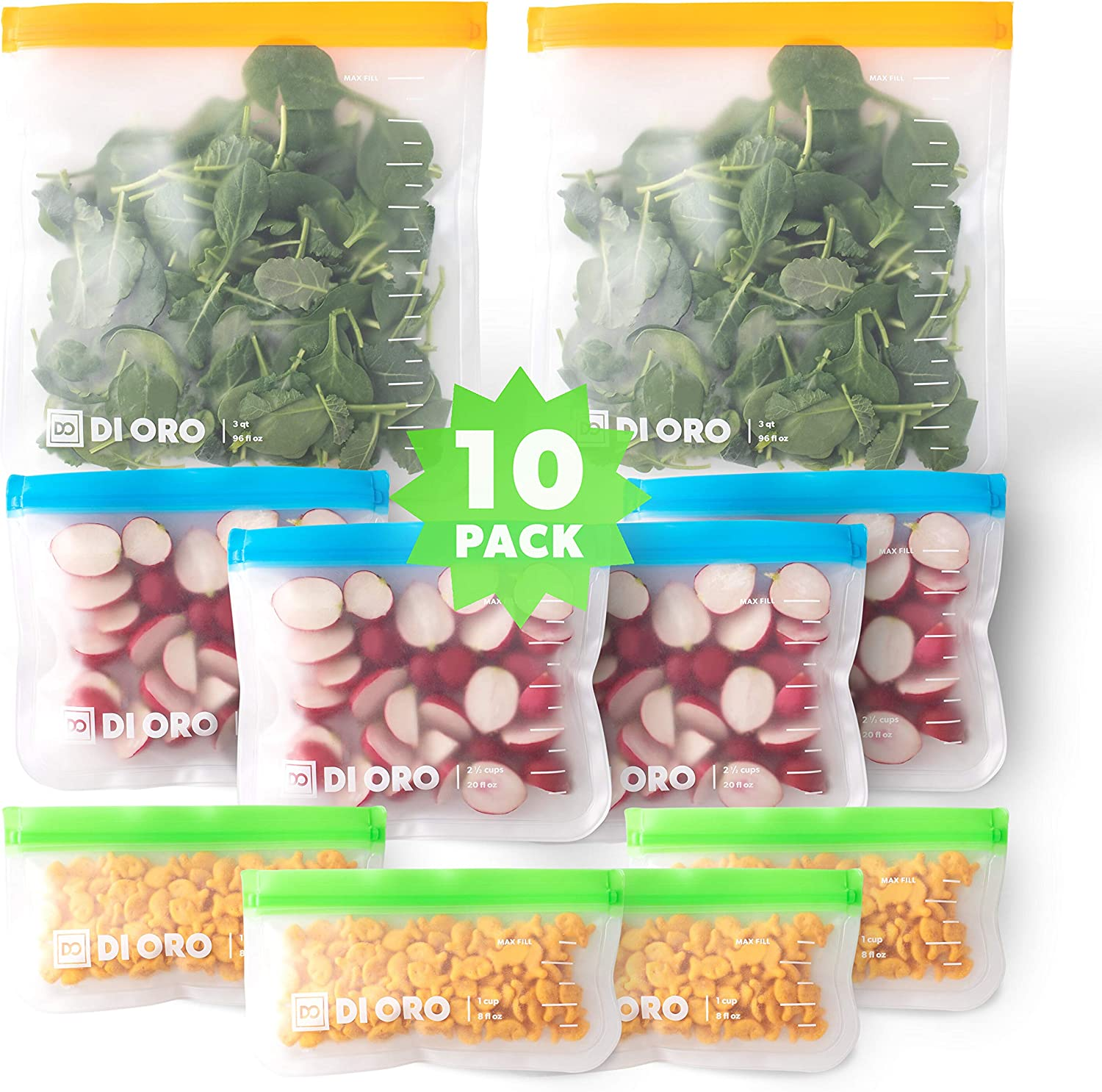 New DI ORO Reusable Snack Bags - 100% Food Safe BPA Free Freezer Safe Bags - 2 Gallon, 4 Sandwich, and 4 Small Bags - Thick, Leakproof, and Washable - Easy Ziplock Reusable Sealing System (10 Pc Set)