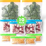 New DI ORO Reusable Snack Bags - 100% Food Safe BPA Free Freezer Safe Bags - 2 Gallon, 4 Sandwich, and 4 Small Bags…