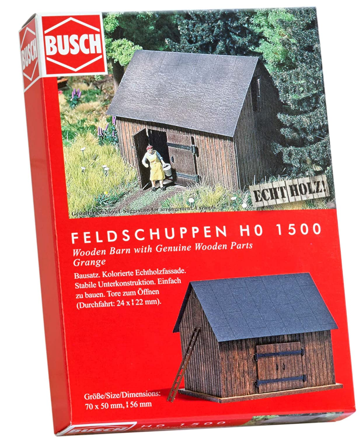 Busch 1500 Wooden Barn with Wood Parts HO Structure Scale Model