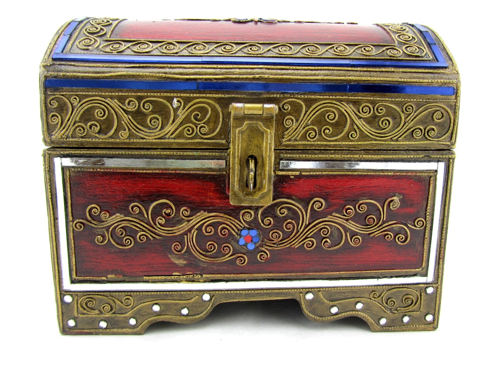Blue Orchid Thai Handmade Wooden Decorative Trinket Box Jewelry Treasure Chest 9'' (Sapphire)