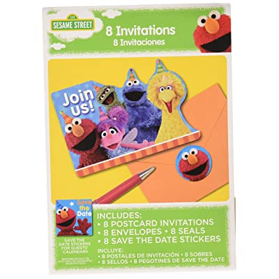 amscan Postcard Invitations   Sesame Street Collection   Party Accessory: Toys & Games