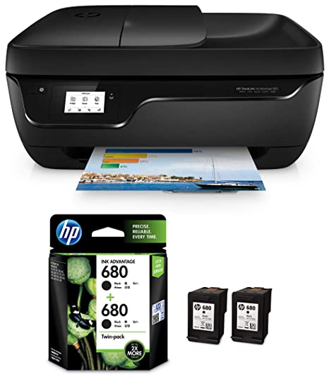 Hp Deskjet 3835 All In One Ink Advantage Wireless Colour Printer Black With Auto Document Feeder Hp 680 Black Ink Cartridges Twin Pack X4e79aa Amazon In Computers Accessories