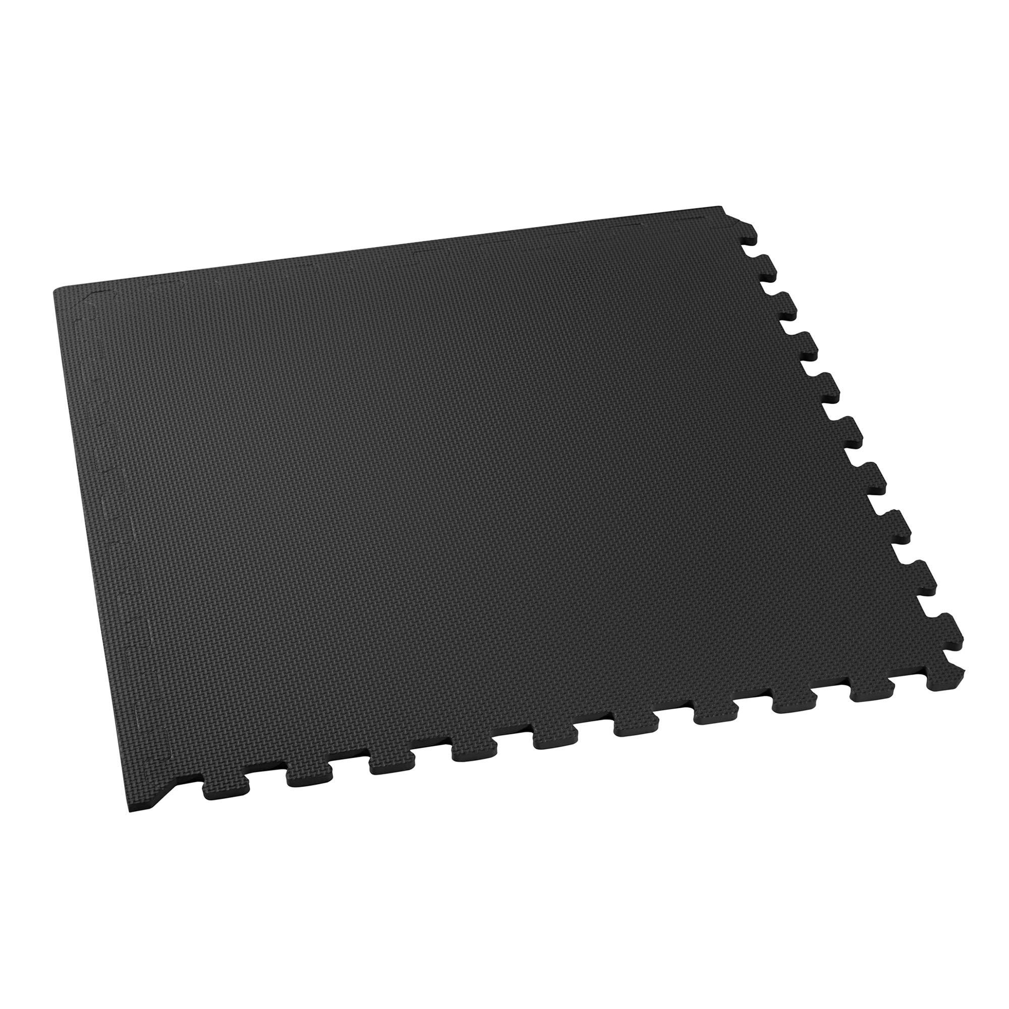 We Sell Mats Foam Interlocking Square Floor Tiles with Borders, (Each 2 x 2 Feet),   16 SQFT (4 Tiles + Borders) - Black