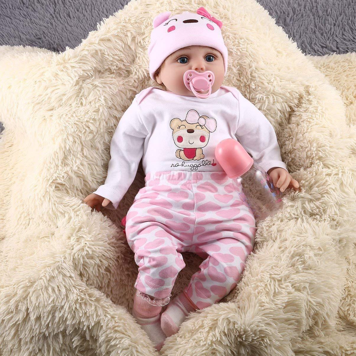 JullyeleDEgant 55 cm 6 Teile / Satz Nette Design Kinder Reborn Baby Puppe Weiche Vinyl Lebensechte Newborn Puppe Mädchen Beste Geburtstagsgeschenk Für Kinder Mädchen