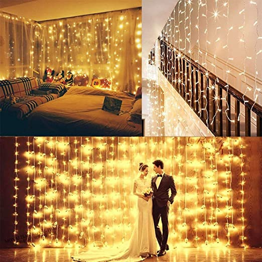 Amazon.com: Guirnalda de luces para cortina de ventana ...