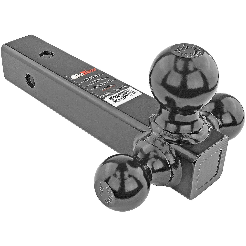 GoTow GT-10004 Black Tri-Ball Mount Tow (Trailer Class III/IV Ball Hitch 1 7/8'/2'/2 5/16' Fits 2' Receiver)