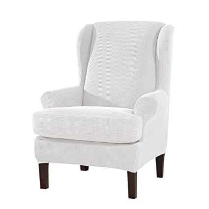 Subrtex 2 Piece Spandex Waffle Fabric Stretch Wingback Slipcovers(Wing Chair,  Off White
