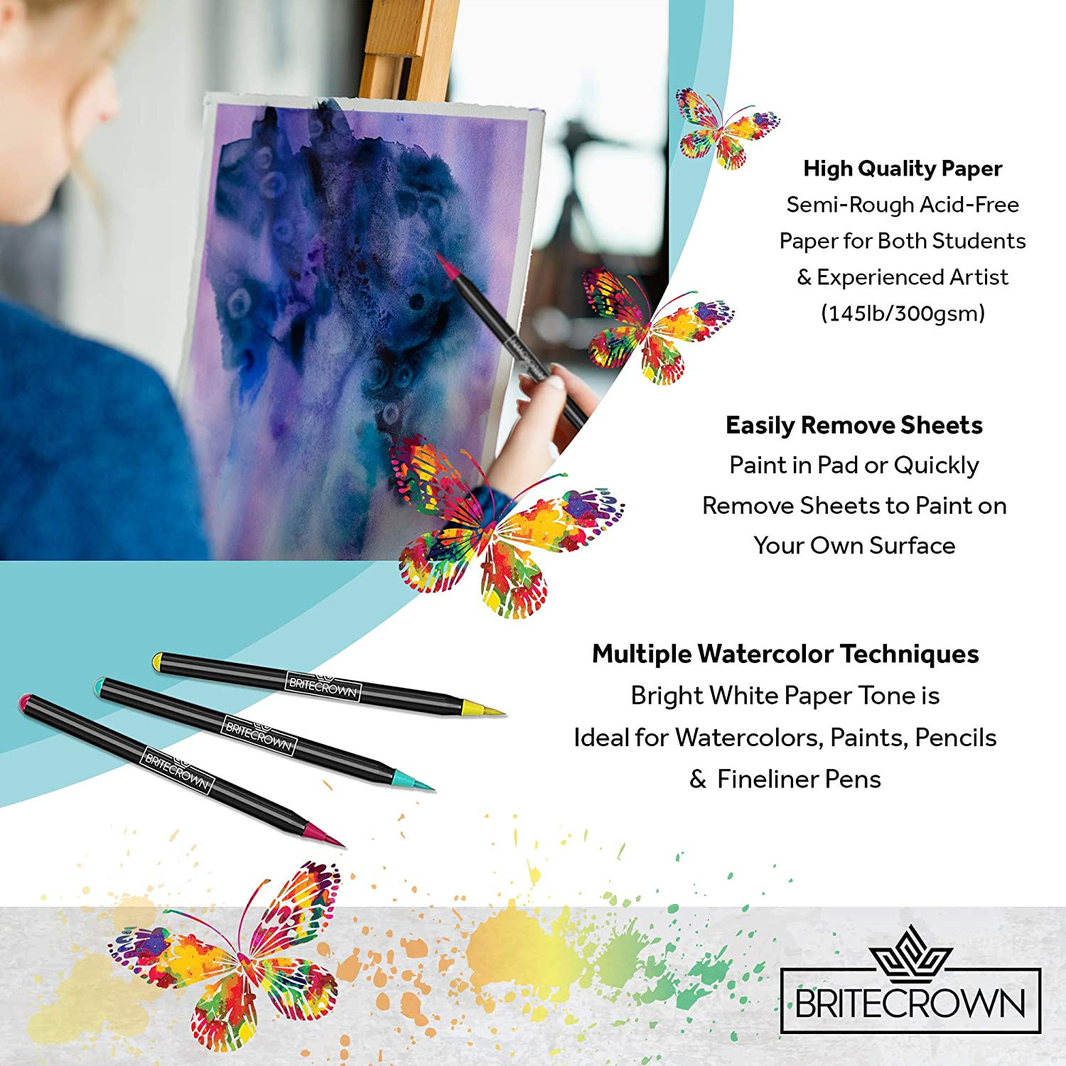 Brite Crown Watercolor Paper Pad 9x12 Teens and Adult Painters 140lb//300gsm Acid Free Watercolor Paper for Kids Bright White 30 Sheets Cold Press Texture Wet Media /& Mixed Media Artists