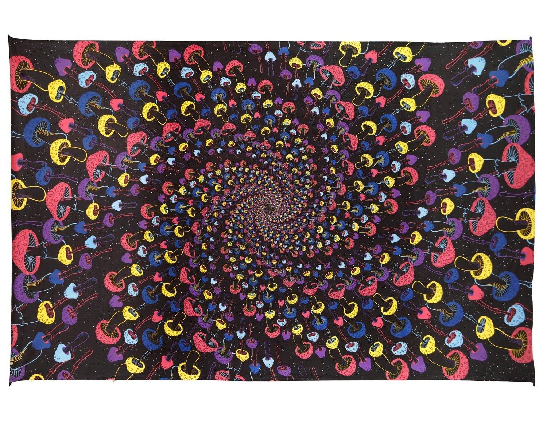 Sunshine Joy 3D Magic Mushroom Spiral Tapestry Wall Art Beach Sheet Huge 60x90 Inches - Classic Spiral