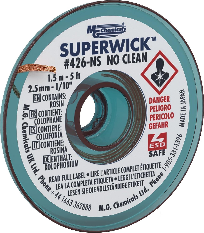 MG Chemicals Tr/èsse de dessoudage #4 Super Wick longueur: 5 Bleu Largeur 0.1 tr/èsse finesans nettoyage