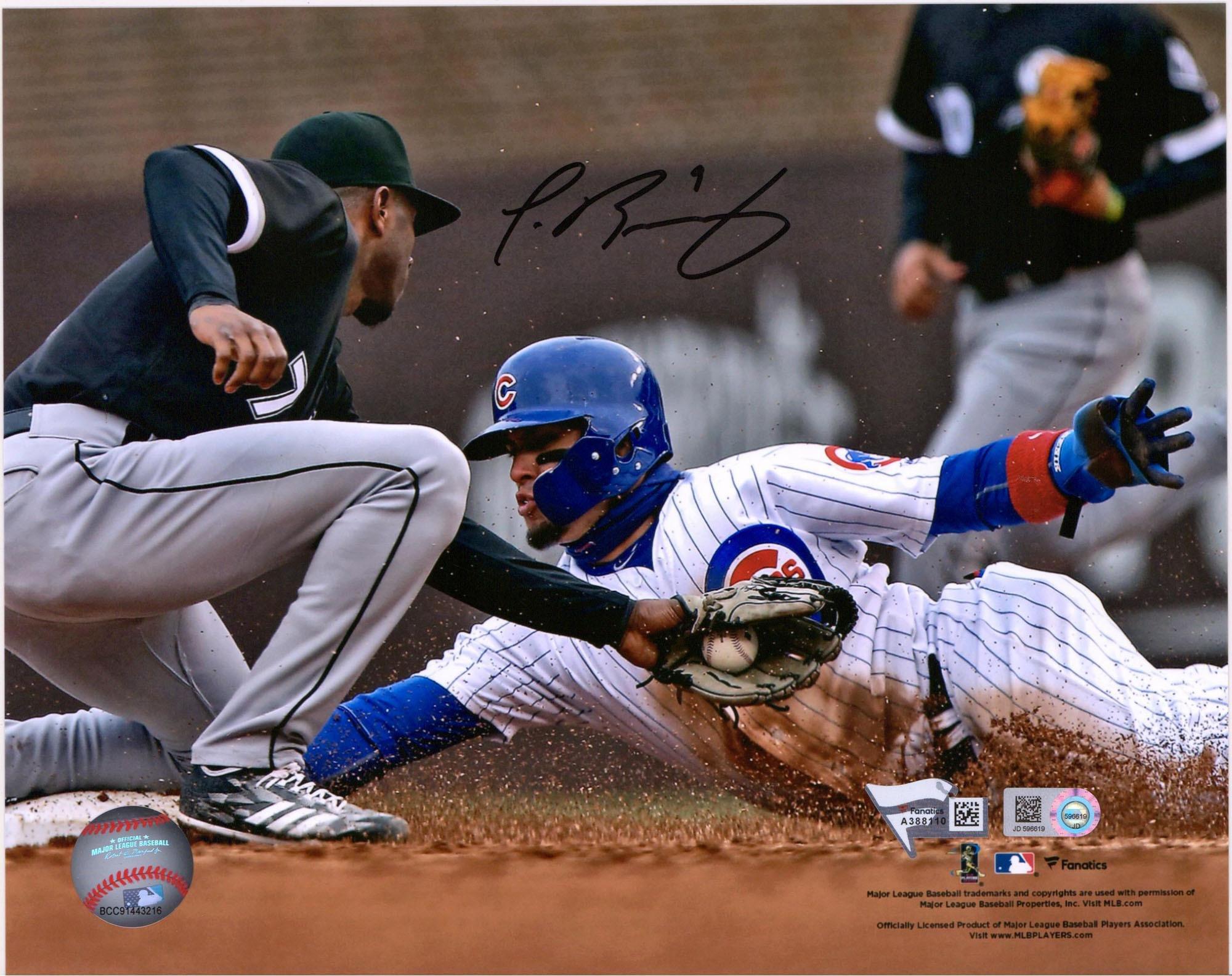 """Javier Baez Chicago Cubs Autographed 8"""" x 10"""" Avoiding Tag Photograph Fanatics Authentic Certified"""
