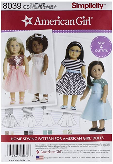 Simplicity 8039OS American Girl Doll Clothes for 18-Inch Doll Sewing ...