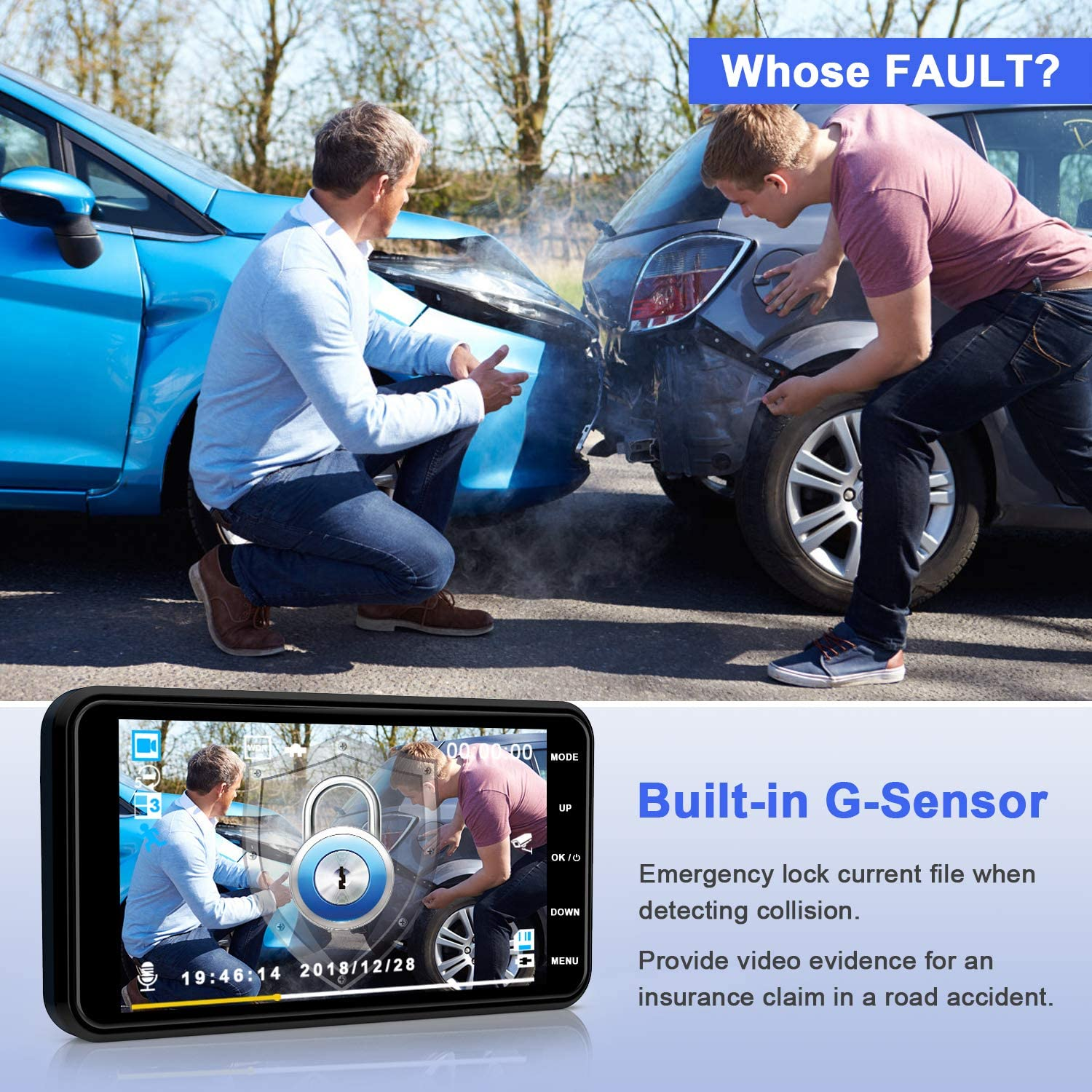 with G-Sensor Loop Recording and Parking Monitoring WDR Technology YUNDOO Dash Cam Full HD 1080P Car Camera for Cars 4 Inch IPS Screen Wide Angle Lens