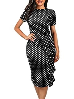 d78f0fb258 CISMARK Women s Vintage Short Sleeve Polka Dot Falbala Fold Slim Fit Pencil  Dress