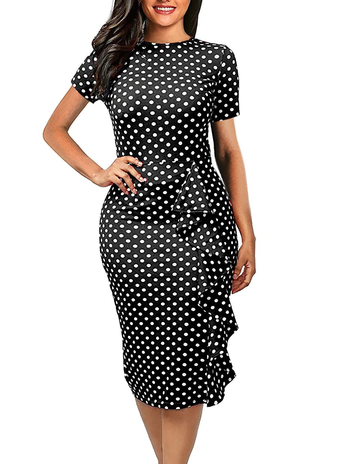 22019f2bc30 Women s Vintage Polka Dot Floral Round Neck Work Business Casual Stretchy  Bodycon Sheath Knee-length Pencil Dress Note Hand-wash and Machine  washable