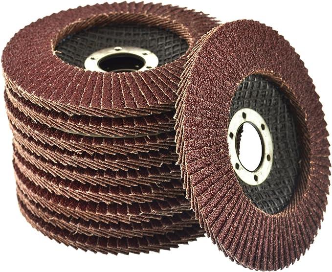 "10PCS Flap Discs Grinding Wheels Sanding 115mm 4.5/"" 40 60 80 120 Grit Angle UK"