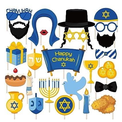 Amazon.com: LJCL Hanukkah accesorios para cabina de fotos ...