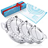 Dumpling Maker Press Set of 3 Molds - BONUS Pastry Mat, Empanada Press for Cooking Pierogi Ravioli Turnover Wrappers, Stainless Steel Dumpling Mould - Pack of 3 Sizes with Silicone Dough Mat (Color: Gray)