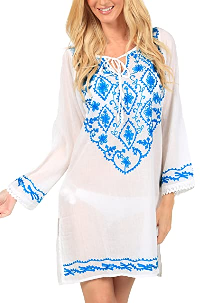 Ingear Embroidered Beach Cover Up (Small, Turquoise)