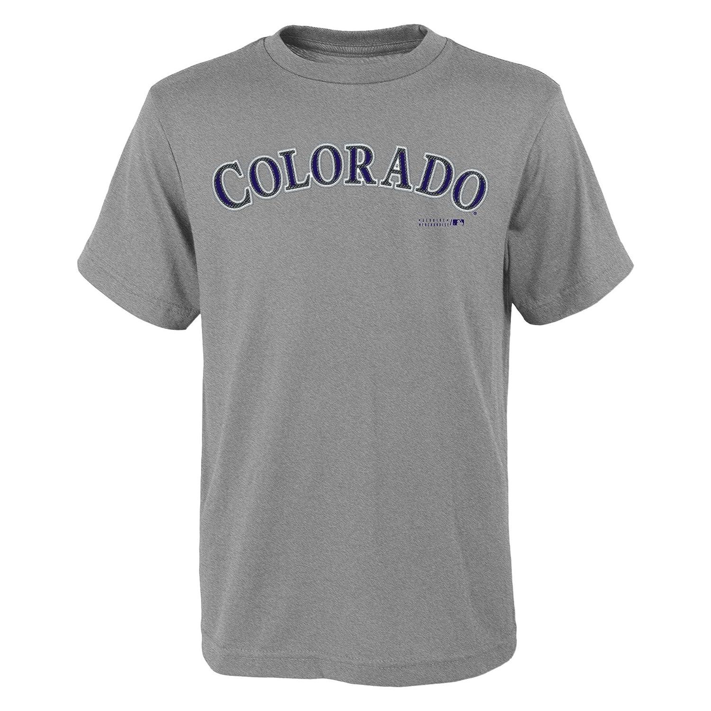 MLB Colorado Rockies Youth Boys 8 20 Wordmark Tee M 10 12 Heather Grey