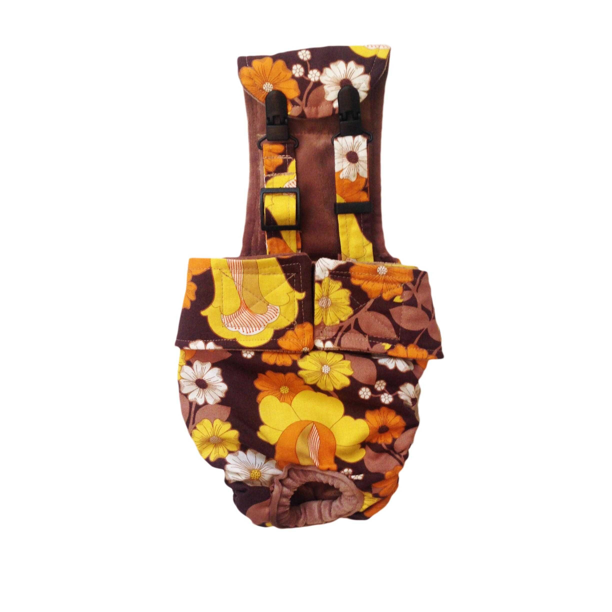 Dog Diaper Overall - Made in USA - Brown and Yellow Flowers Escape-Proof Washable Dog Diaper Overall, XXXL for Dog Incontinence, Marking, Housetraining and Females in Heat