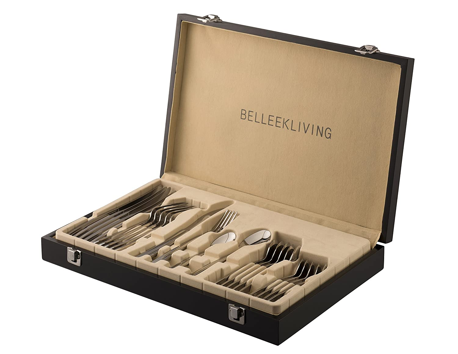 Belleek Pottery Occasions 24 Piece Cutlery Set, Silver, Set of 24 8938