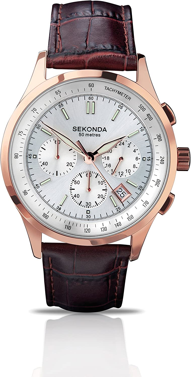 Sekonda Men s Quartz Watch with Analogue Display and Brown Leather Strap