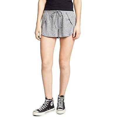 BB Dakota Women's Space Dye Overlap Shorts, Heather Grey, Small at Women's Clothing store