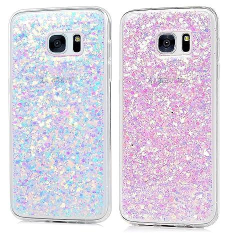 2x Carcasa para Samsung Galaxy S7 Edge, Funda Silicona TPU Bling Lentejuelas Cubierta Glitter Sparkle Brillar Claro Cristal Bumper Case Cover Moda ...