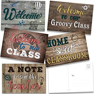 40 Pieces Home Sweet Classroom Welcome Postcards, Welcome to Our Class Theme Postcard Wooden Industrial Chic Welcome Blank Cards Greeting Cards Note Cards Teacher Postcards for Kids, 4 x 6 Inch
